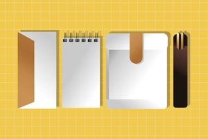 Mockup-Notizbuch aus Papier mit Umschlag und Stäbchen-Farbverlauf vektor