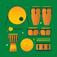 Schlaginstrumente Musikinstrumente Knolling vektor