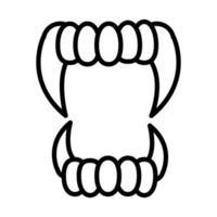 Happy Halloween Vampir Zähne Süßes oder Saures Party Feier lineares Icon Design vektor