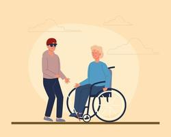 junge Männer mit Behinderungen vektor