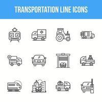 einzigartige Transportlinie Icon-Set vektor