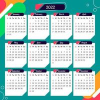 Kalender 2022 mit buntem abstraktem Hintergrund vektor