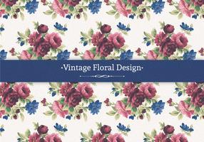 Röd och Blå Vintage Blommig Bakgrund