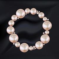 abstrakter Kreisrahmen der rosa Perlen auf schwarzem Seidenhintergrund. Vektorillustration vektor