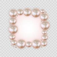 glänzender abstrakter Hintergrund mit realistischen Perlen und weißer Papierschablone. Vektorillustration vektor
