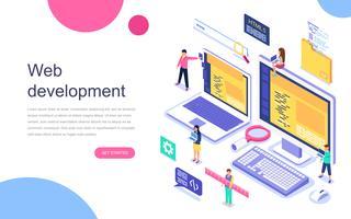 Modernes flaches Design isometrisches Konzept der Webentwicklung für Banner und Website. Zielseitenvorlage. Teamwork-Projekt, Webagentur und neues Unternehmensprojekt. Vektor-illustration