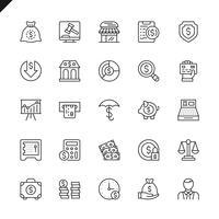Dünne Linie Geld, Finanzierung, Zahlungselementikonen stellte für Website und bewegliche Site und apps ein. Umreißen Sie Ikonenentwurf. 48x48 Pixel Perfekt. Lineare Piktogrammpackung Vektor-illustration