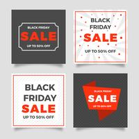 Flat Black Friday Social Media Post Vector Mall