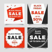 Flache Black Friday-Verkaufs-Social Media-Beitrags-Vektorschablone vektor