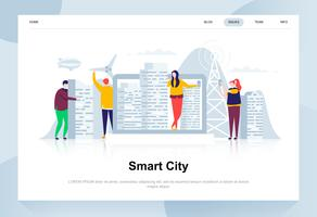 Smart stad modernt plandesignkoncept. Arkitektur och människokoncept. Målsida mall. Konceptuell platt vektor illustration för webbsida, webbplats och mobil webbplats.