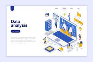 Dataanalys Modern plandesign isometrisk koncept. Analytics och folkkoncept. Målsida mall. Konceptuell isometrisk vektor illustration för webb och grafisk design.