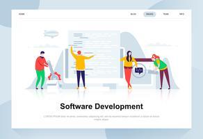 Modernes flaches Designkonzept der Softwareentwicklung. Entwickler- und Personenkonzept. Zielseitenvorlage. Flache Begriffsvektorillustration für Webseite, Website und bewegliche Website.