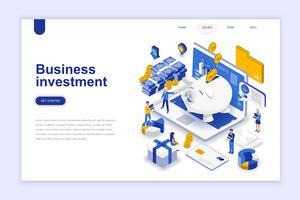 Affärsinvestering modernt plandesign isometrisk koncept. Pengar och människor koncept. Målsida mall. Konceptuell isometrisk vektor illustration för webb och grafisk design.