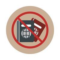 Flughafenpass verbotene Reise Transportterminal Tourismus oder Geschäftsblock und flaches Symbol vektor
