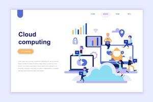 Målsida mall för cloud computing modernt plattdesign koncept. Lärande och människokoncept. Konceptuell platt vektor illustration för webbsida, webbplats och mobil webbplats.