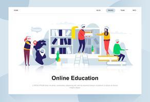Modernes flaches Designkonzept der Online-Bildung. Lern- und Personenkonzept. Zielseitenvorlage. Flache Begriffsvektorillustration für Webseite, Website und bewegliche Website.