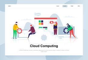 Cloud computing modernt plattdesignkoncept. Affärsteknik och människokoncept. Målsida mall. Konceptuell platt vektor illustration för webbsida, webbplats och mobil webbplats.