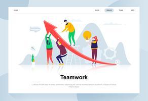 Modernes flaches Designkonzept der Teamarbeit. Führung und Personenkonzept. Zielseitenvorlage. Flache Begriffsvektorillustration für Webseite, Website und bewegliche Website.