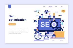 Målsida mall för seo optimering modernt plattdesign koncept. Lärande och människokoncept. Konceptuell platt vektor illustration för webbsida, webbplats och mobil webbplats.