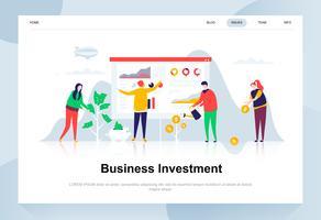 Modernes flaches Designkonzept der Geschäftsinvestition. Geld und Menschen Konzept. Zielseitenvorlage. Flache Begriffsvektorillustration für Webseite, Website und bewegliche Website.