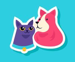 Katt och hundklistermärkear