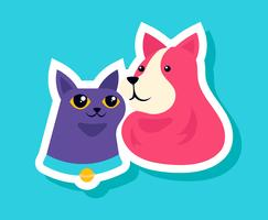 Katzen- und Hundeaufkleber vektor