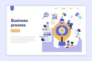 Målsida mall för affärsprocess modernt plandesign koncept. Lärande och människokoncept. Konceptuell platt vektor illustration för webbsida, webbplats och mobil webbplats.