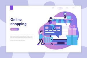Modernes flaches Designkonzept des Online-Shoppings für Website und mobile Website. Zielseitenvorlage. Kann für Webbanner, Infografiken und Heldenbilder verwendet werden. Vektor-illustration