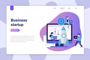 Modernes flaches Designkonzept von Business Startup für Website und mobile Website. Zielseitenvorlage. Kann für Webbanner, Infografiken und Heldenbilder verwendet werden. Vektor-illustration vektor