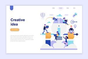 Målsida mall för kreativ idé modern platt designkoncept. Lärande och människokoncept. Konceptuell platt vektor illustration för webbsida, webbplats och mobil webbplats.