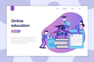Modernes flaches Designkonzept der Online-Bildung für Website und mobile Website. Zielseitenvorlage. Kann für Webbanner, Infografiken und Heldenbilder verwendet werden. Vektor-illustration