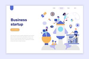Målsida mall för företagsstart Modernt plandesign koncept. Lärande och människokoncept. Konceptuell platt vektor illustration för webbsida, webbplats och mobil webbplats.
