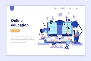 Målsida mall för online-utbildning modernt plattdesign koncept. Lärande och människokoncept. Konceptuell platt vektor illustration för webbsida, webbplats och mobil webbplats.