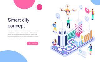 Modern plattform isometrisk koncept för Smart City för banner och hemsida. Målsida mall. Affärscenter med skyskrapor, gator i stadens anslutna vägar. Vektor illustration.