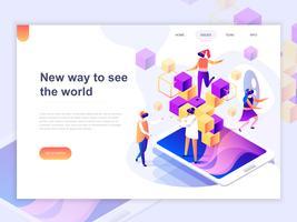 Målsida mall för virtuella förstorade verkligheten glasögon koncept med människor lärande och underhållande. 3D isometrisk koncept för webbdesign för webbsidor och mobilwebbplatser. Vektor illustration.