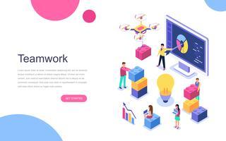Modernt plandesign isometrisk koncept för Teamwork för banner och hemsida. Målsida mall. Business, arbetsflödeshantering och kontorsituationer. Vektor illustration.