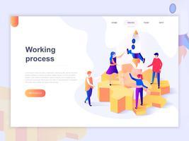 Målsida mall för affärsprocesser och kontorsituationer. 3D isometrisk koncept för webbdesign för webbsidor och mobilwebbplatser. Vektor illustration.