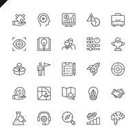 Dünne Linie Startprojekt- und Entwicklungselementikonen stellte für Website und mobile Site und Apps ein. Umreißen Sie Ikonenentwurf. 48x48 Pixel Perfekt. Lineare Piktogrammpackung Vektor-illustration vektor