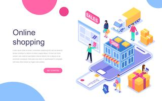 Modernt plandesign isometrisk koncept för Online Shopping för banner och hemsida. Målsida mall. Kommersiell utbetalning, e-handel detaljhandel på enhet för kund apps. Vektor illustration.