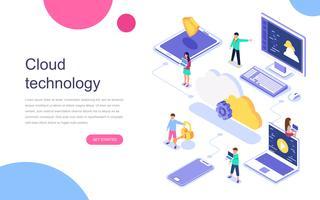Modern plandesign isometrisk koncept Cloud Technology för banner och hemsida. Målsida mall. Datacenter, mjukvarulösningar för att dela information på digitalt nätverk. Vektor illustration.