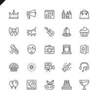 Dünne Linie Partei, Geburtstag, Feierelementikonen stellte für Website und bewegliche Site und apps ein. Umreißen Sie Ikonenentwurf. 48x48 Pixel Perfekt. Lineare Piktogrammpackung Vektor-illustration