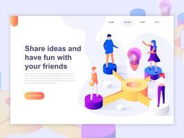 Landing-Page-Vorlage für Beziehung, Online-Dating und Social-Networking-Konzept. Isometrisches Konzept 3D des Webseitendesigns für Website und bewegliche Website. Vektor-illustration