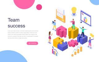 Modern plandesign isometrisk koncept för Team Success för banner och hemsida. Målsida mall. Framgångsrika företagare som arbetar tillsammans. Vektor illustration.