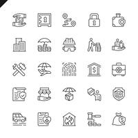 Dünne Linie Versicherungselementikonen stellte für Website und bewegliche Site und apps ein. Umreißen Sie Ikonenentwurf. 48x48 Pixel Perfekt. Lineare Piktogrammpackung Vektor-illustration