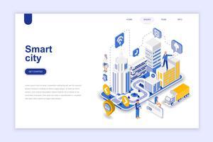 Smart city modern plattform isometrisk koncept. Arkitektur och människokoncept. Målsida mall. Konceptuell isometrisk vektor illustration för webb och grafisk design.