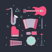 Musical Instruments Knolling Vector
