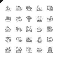 Tunnlinjetrafik, fordon och leveranselement ikoner som fastställs för webbplats och mobil webbplats och appar. Översikt ikoner design. 48x48 Pixel Perfect. Linjärt piktogrampaket. Vektor illustration.