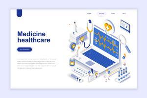 Medicin och sjukvård modern platt design isometrisk koncept. Apotek och människokoncept. Målsida mall. Konceptuell isometrisk vektor illustration för webb och grafisk design.