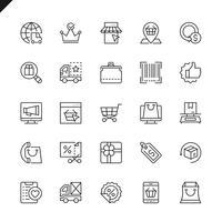 Dünne Linie E-Commerce-, Online-Shopping- und Lieferungselementikonen stellten für Website und mobile Site und Apps ein. Umreißen Sie Ikonenentwurf. 48x48 Pixel Perfekt. Lineare Piktogrammpackung Vektor-illustration