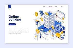 Online banking modern flat design isometric koncept. Elektronisk bank och människor koncept. Målsida mall. Konceptuell isometrisk vektor illustration för webb och grafisk design.